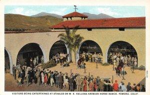 W.K. Kellogg Arabian Horse Ranch Stables, Pomona, CA c1920s Vintage Postcard