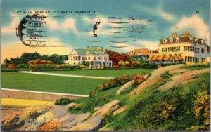 NEWPORT RI – Cliff Walks - BAILEY BEACH - VINTAGE - POSTCARD - PC - POSTED