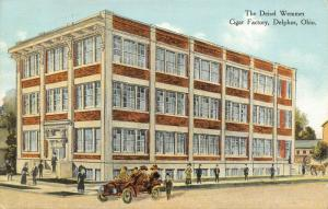 Delphos Ohio~Deisel Wemmer Cigar Factory~Car at Plant~Artist Conception~1911 PC