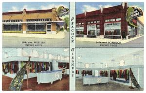 Oklahoma OK Peacock Cleaners Two locations Curteich Linen Postcard