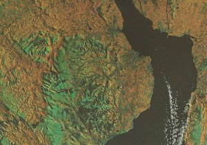 South East Welsh Wales From Outer Space Astronomy Map Postcard