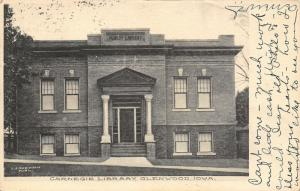Glenwood Iowa~Carnegie Public Library~Can't Come: Much Work Little Cash~1907 PC