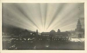 1915 PPIE Expo RPPC Postcard 25843 Night View with Illuminating Rays of Light