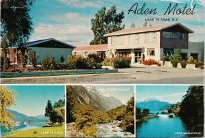 Aden Motel Lake Te Anau New Zealand Multiview Vintage Postcard D59