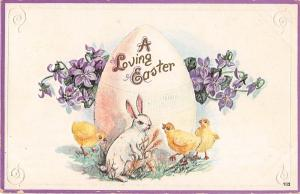 Easter Greetings Bunny Rabbit & Chicks by Large Egg Antique Postcard (J7004)