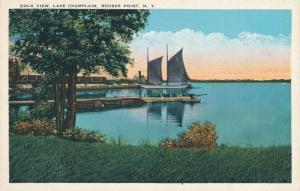 Dock and Sailboat View at Rouses Point NY, New York on Lake Champlain - WB