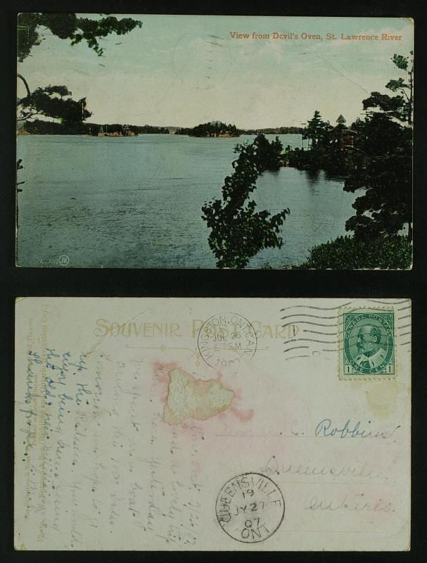 View from Devils Oven  Thousand Islands 1907      crease