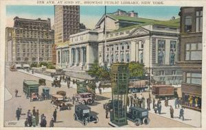 NEW YORK CITY, New York, 1910s; 5th Ave. at 42nd St. showing Public Library