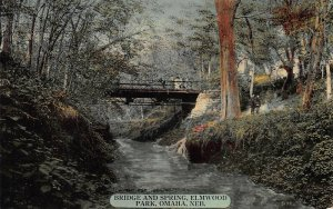 Bridge and Spring, Elmwood Park, Omaha, Nebraska, Early Postcard, Unused