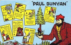 American Folklore Paul Bunyan' Accomplishments Linen Postcard