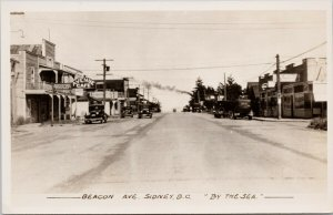 Sidney BC Beacon Avenue Cafe Agent 'By The Sea' Gowen Sutton RPPC Postcard G34