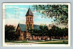 St. Petersburg, St. Peters Episcopal Church Tower Vintage Florida c1939 Postcard