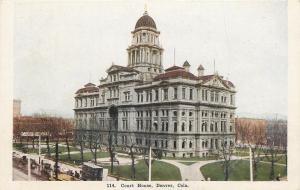 Denver Colorado~Court House Corner View~1908 Postcard