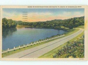 Linen RIVER SCENE Zanesville Ohio OH AE6322