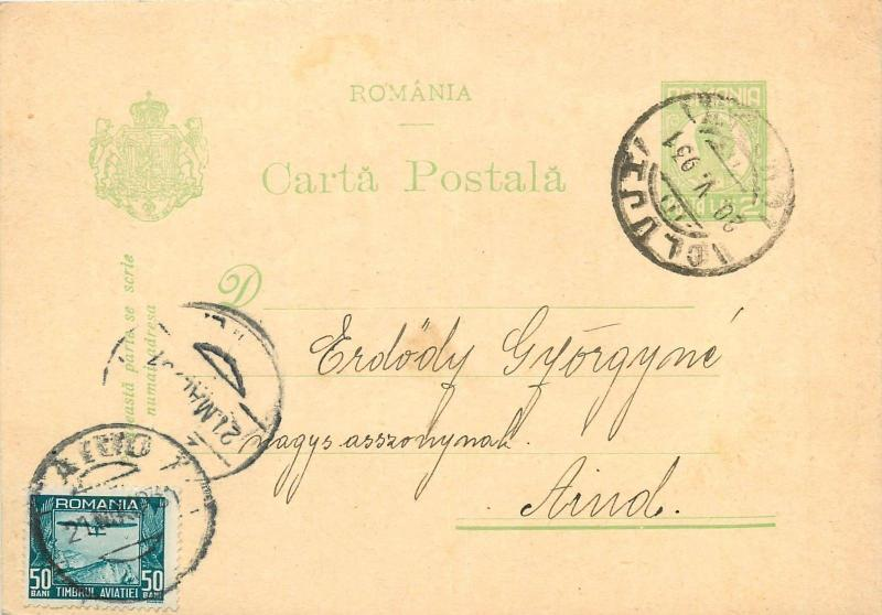 Cluj to Aiud Romania 1931 uprated postal stationery postcard royalty 2 Lei green