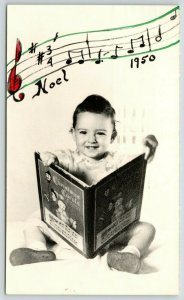 Laconia NH Christmas~Emerson Baby Sits w/ Carol Book~Music Staff~Noel 1950 RPPC