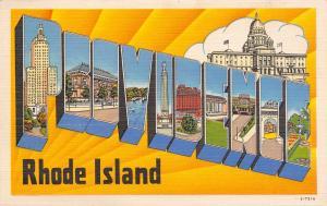 Providence Rhode Island~Large Letter Linen Postcard~Yellow Sunburst~1940s PC