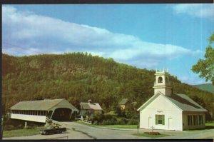 New Hampshire STARK Covered Bridge and Church - Chrome
