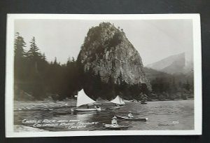 Mint Oregon Castle Rock View From Columbia River Highway Real Photo Postcard
