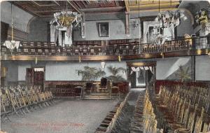 D31/ Akron Ohio Postcard Summit County 1909 Odd Fellows I.O.O.F. Interior Lodge