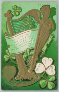 St Patrick's Day~Erin Go Bragh~Gold Harp With Winged Maiden~Clover~Poem~1909~Emb