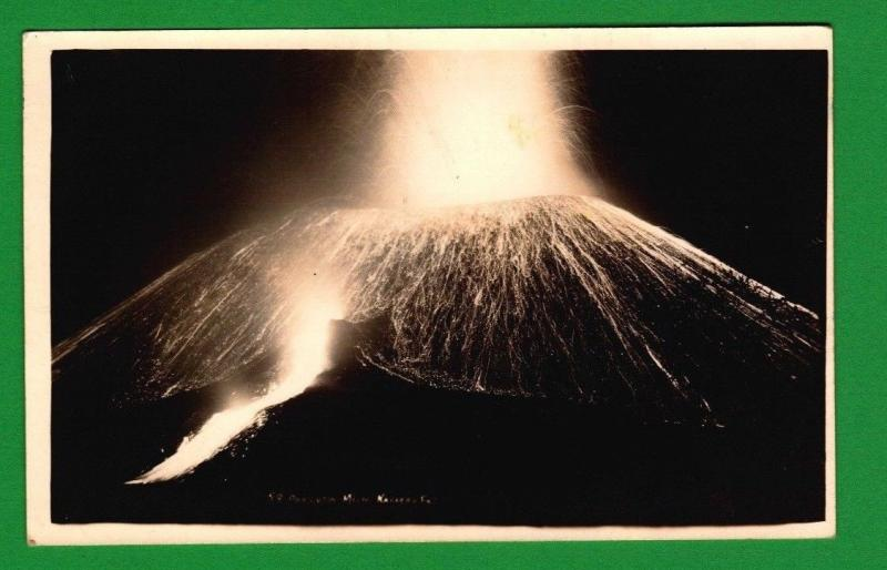 RPPC Mexico Patzcuaro Volcano Erupting at Night Unposted A1 1940s Disaster