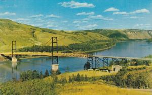 Dunvegan Suspension Bridge, Peace River, Alberta, Canada, 1960-70s