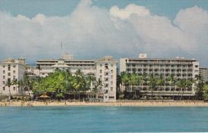 OAHU, Hawaii; Waikiki Beach, Moana Hotel, 40-60s