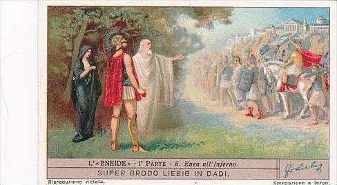 Liebig Vintage Trade Card S1238 Aeneid Part I No 6 Enea all'Inferno