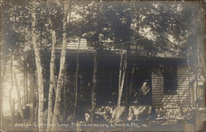 Lincoln ME Jordan Cottage Lake Mattanawcook Real Photo Postcard c1915