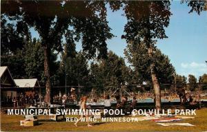 Red Wing Minnesota~Colville Park~Municipal Swimming Pool~1960s Postcard