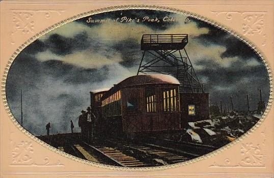 Colorado Train At Summit Of Pike's Peak At Night