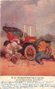 C92/ Artist Signed Postcard 1907 Roosevelt Bears Comic Auto Repair Mechanic 12