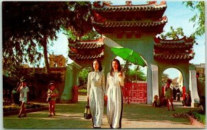 1960s SAIGON Vietnam Postcard Two Young Ladies Enter Le Van Duyet Memorial