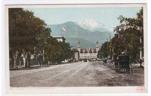 Pikes Peak Avenue Colorado Springs Colorado 1910c Phostint postcard