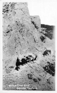 F50/ Augusta Montana RPPC Postcard c1940s Willow Creek Gorge Horses