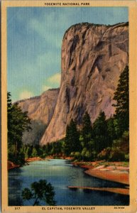 California CA Yosemite National Park Valley El Capitan Postcard Old Vintage Card