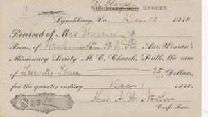 LYNCHBURG , Virginia , PU-1910 ; M.E. Church, South, Woman's Missionary Society