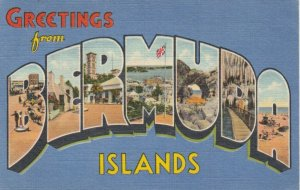 BERMUDA ISLANDS, PU-1950; Greetings, 7- Views, Large Letters