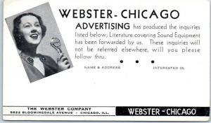Chicago, Illinois Postcard THE WEBSTER COMPANY Sound Advertising c1940s Unused