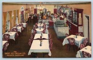 Postcard MD Frederick The Ebert Ice Cream Company Interior Restaurant Parlor S5