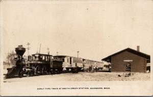 Dearborn Michigan~Smiths Creek Train Station~Steam Locomotive~Wood~1930s RPPC