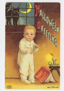 Halloween Ghost Stories Child & Book Crescent Moon Cat Postcard