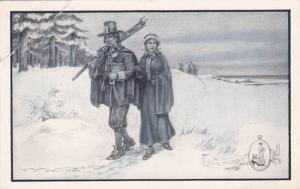 ADV: Walk-Over Shoes, Going to Church, Couple w/ Rifle Walking Through Snow, ...