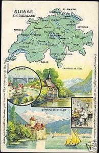 switzerland suisse, BERN, Chillon, MAP Postcard (1910s)
