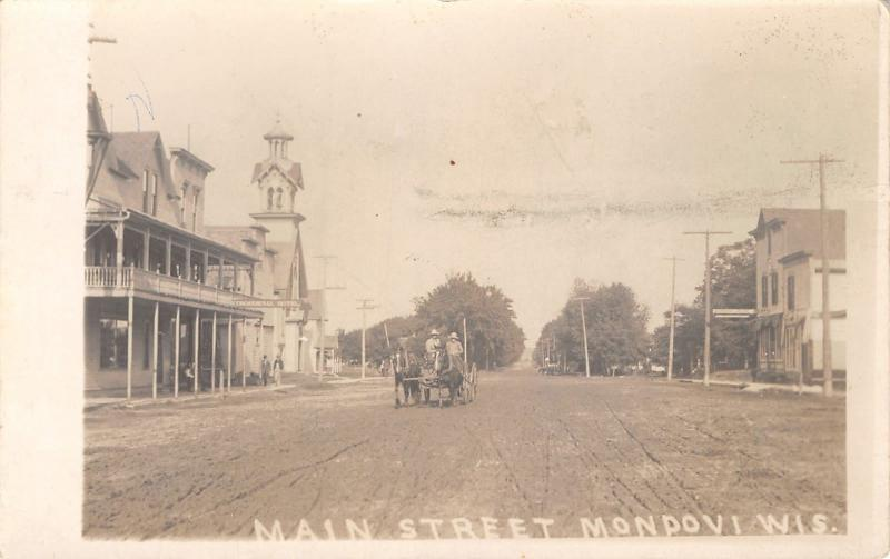 Mondovi Wi Commercial Hotel Lutheran Church Both Razed In The 1970s Rppc 1911