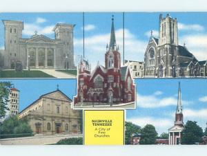 Unused Linen FIVE CHURCHES ON ONE POSTCARD Nashville Tennessee TN G3717