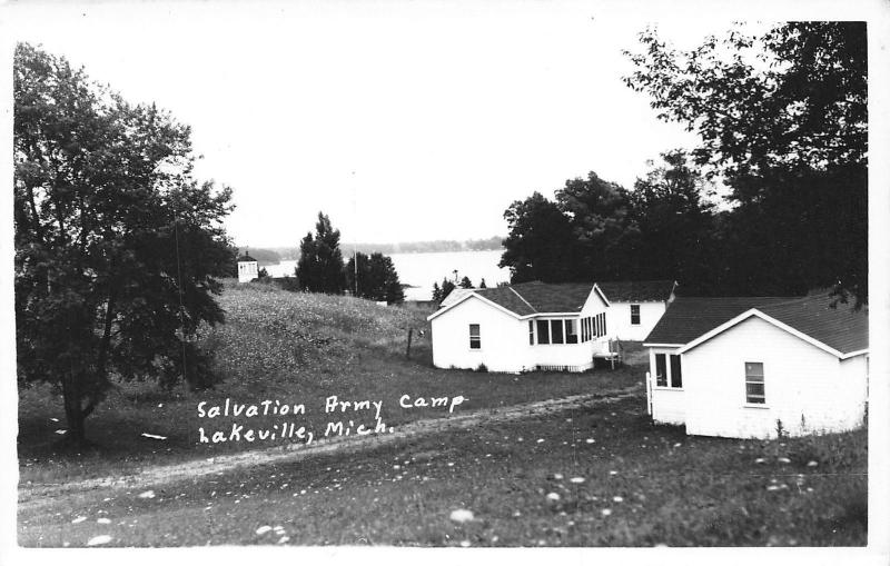 Lakeville Michigan~Cabins @ Salvation Army Camp on Lake Miller RPPC c1910
