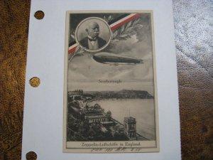 Germany Postcard Zeppelin WWI Era WW1 Scarborough England