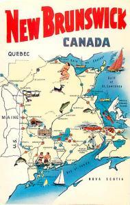 New Brunswick Canada NB Chrome Map Postcard